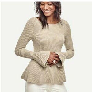 Ann Taylor Ribbed Peplum Sweater